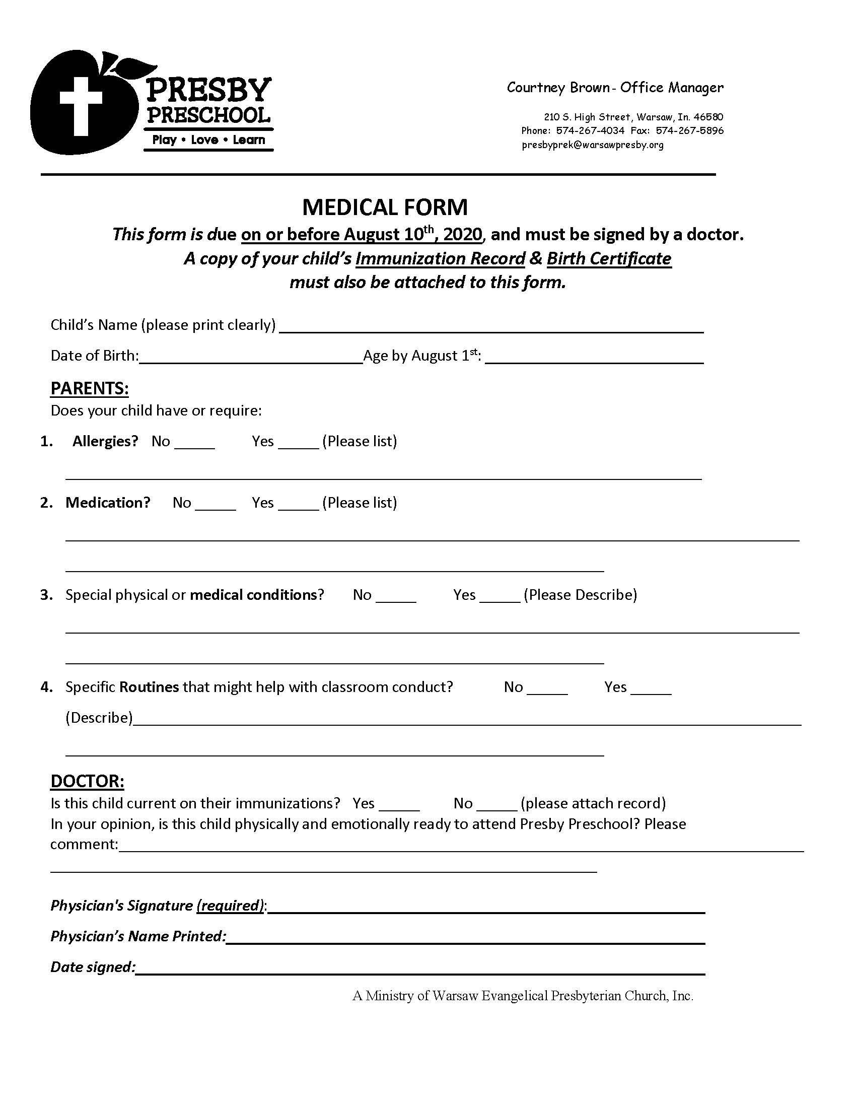 Medical Form 2020