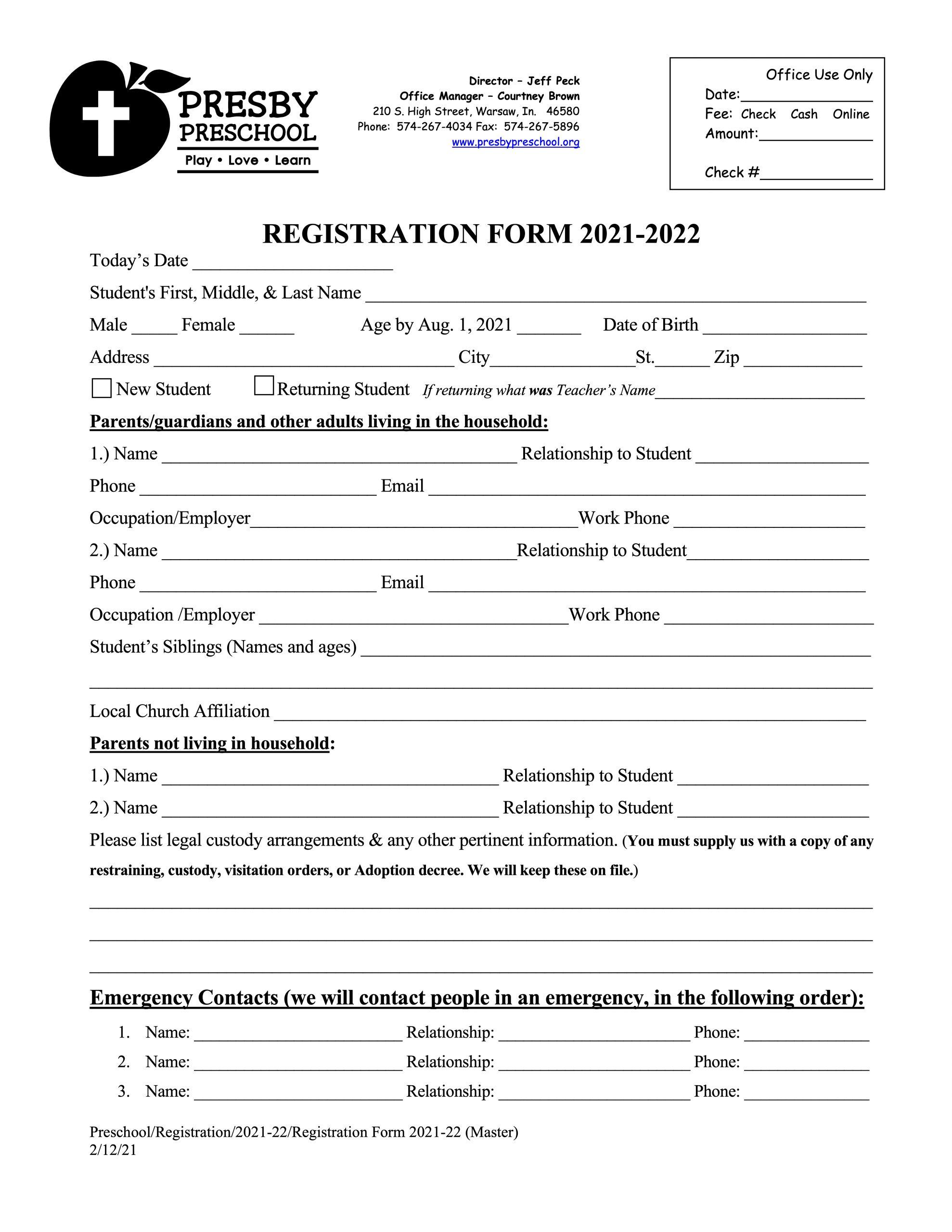 Registration Form 2021-22